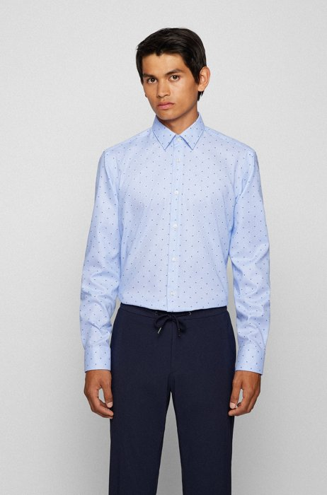 Regular-fit shirt in easy-iron structured fil coupé cotton, Blue Patterned