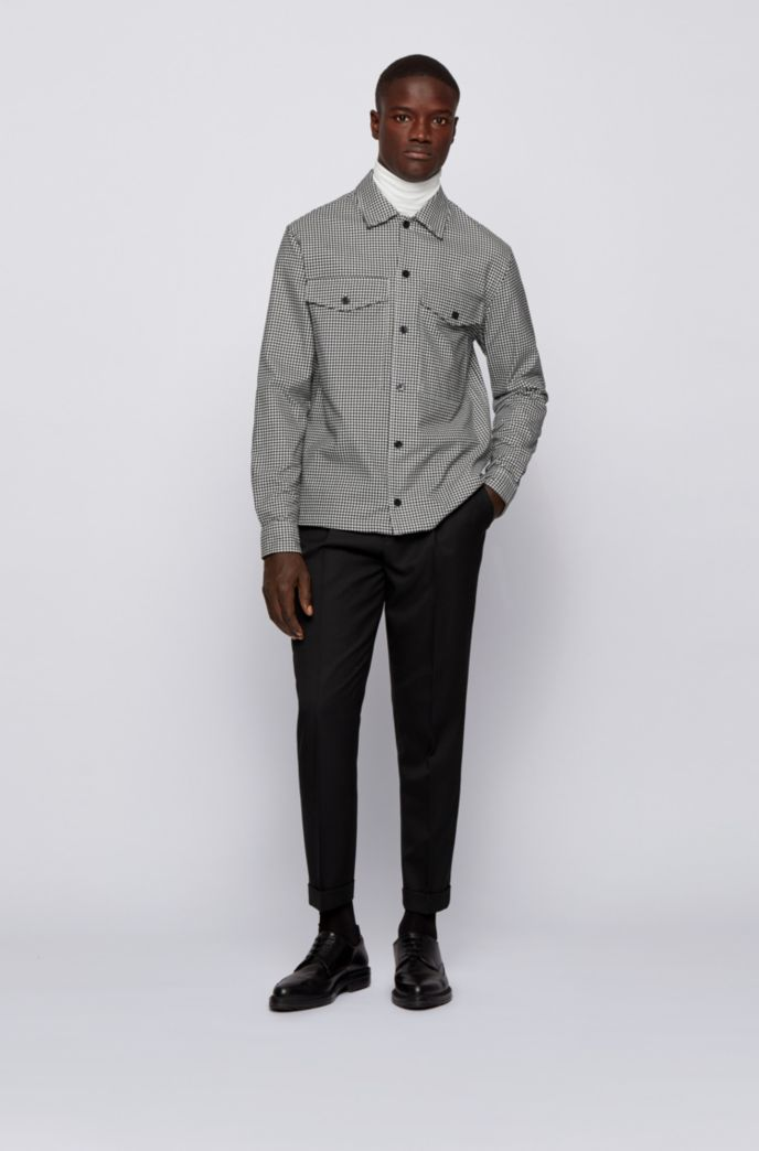 Relaxed-fit overshirt in Vichy-print cotton twill