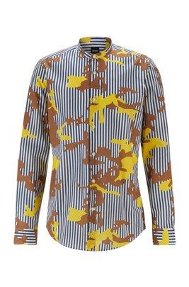 Regular-Fit Hemd mit Streifen- und Camouflage-Print, Blau gemustert