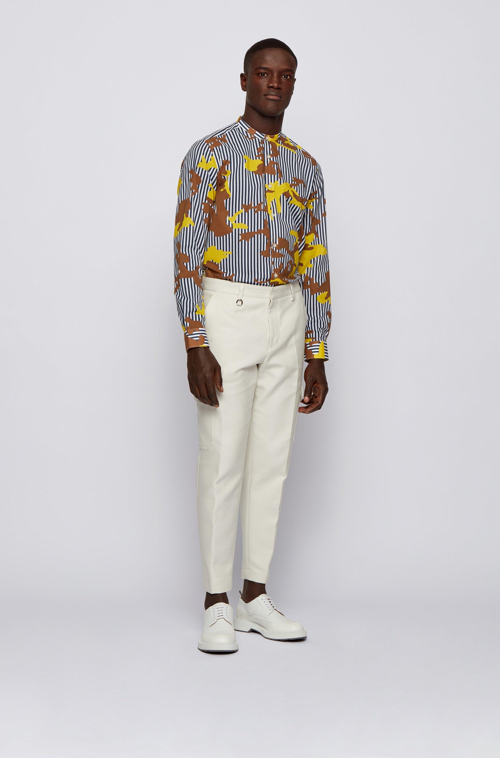 Regular-Fit Hemd mit Streifen- und Camouflage-Print