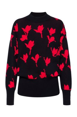 Relaxed-fit sweater with jacquard-woven cherry-blossom motif, Patterned