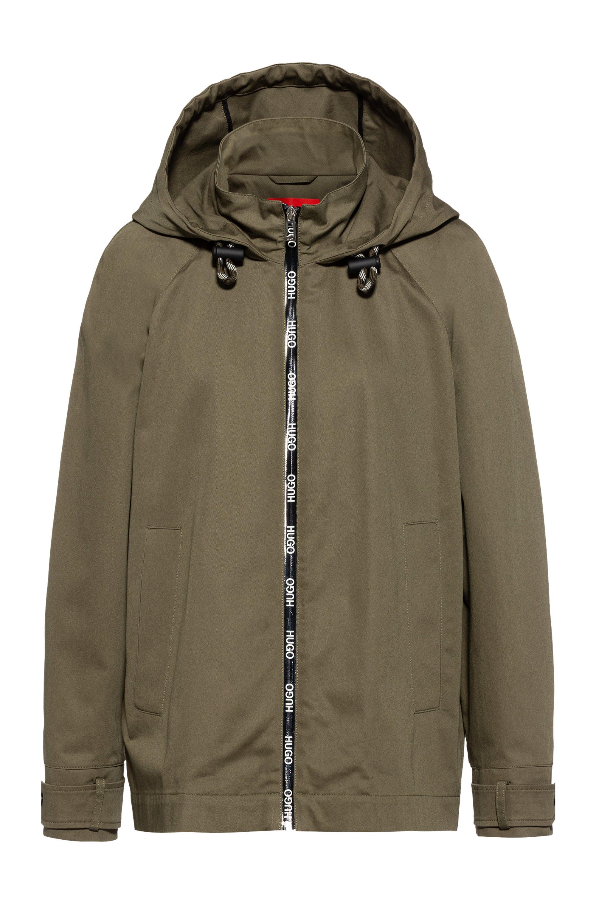 Veste à capuche Relaxed Fit avec bande zippée à logo imprimé, Kaki