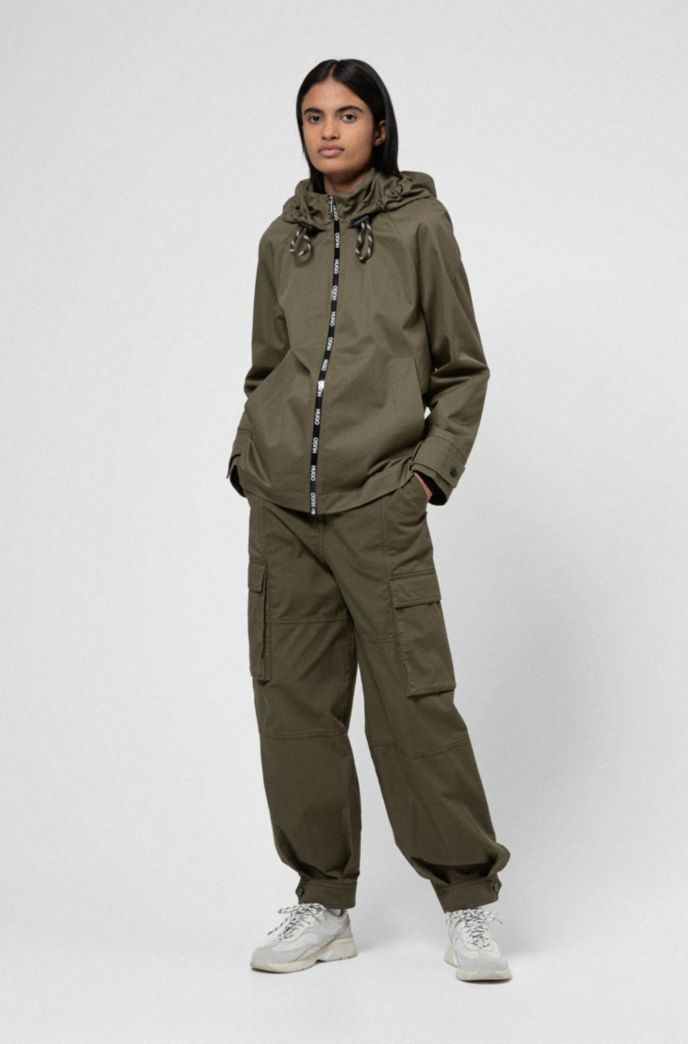 Relaxed-fit hooded jacket with logo-print zip tape