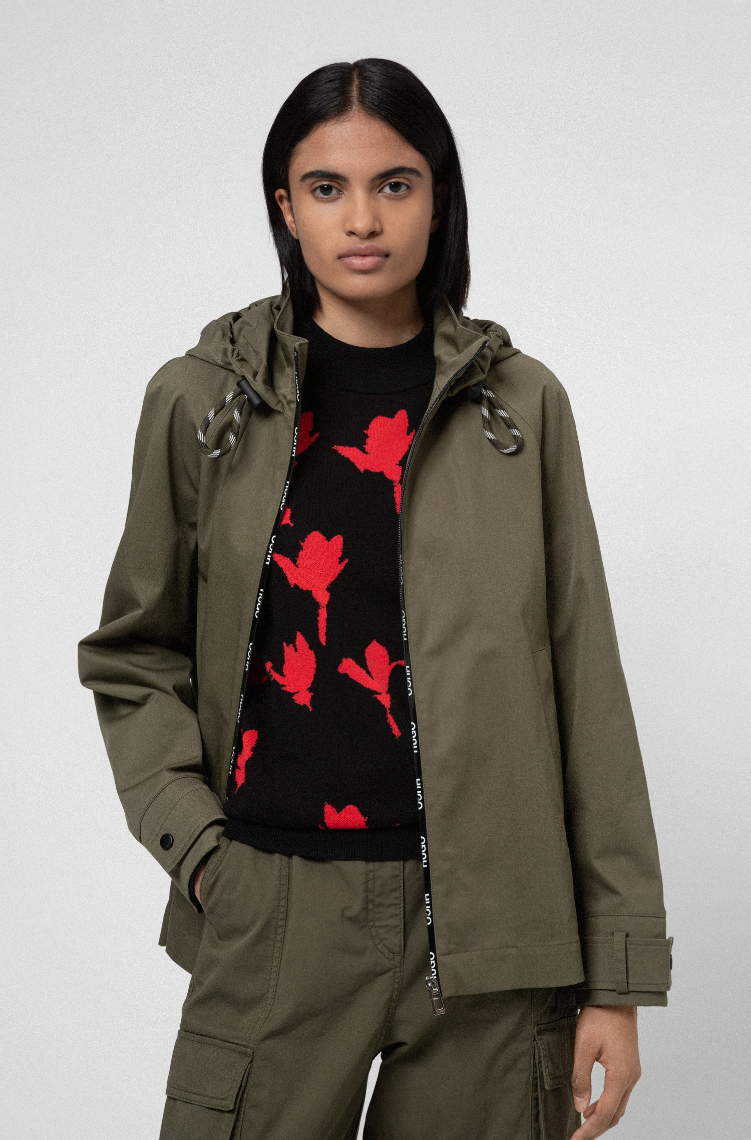 Relaxed-fit hooded jacket with logo-print zip tape, Khaki