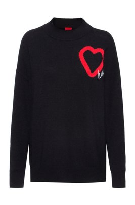 Oversized-fit knitted sweater with heart detail, Black