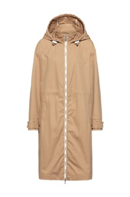 Relaxed-fit parka with logo-print zip tape, Light Beige