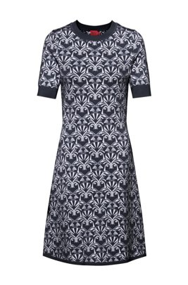 Slim-fit knitted dress with bear motifs, Patterned