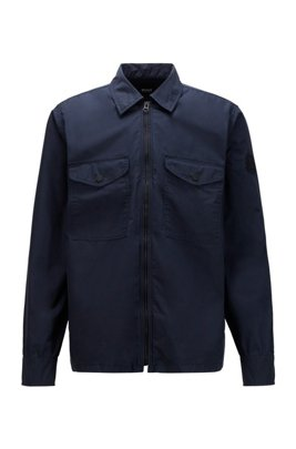 Overshirt in coated double-faced cotton, Dark Blue