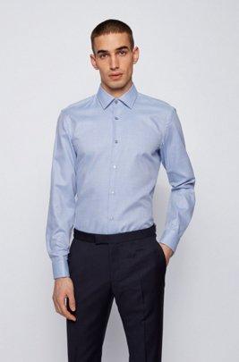 Easy-iron slim-fit shirt in organic-cotton dobby, Light Blue