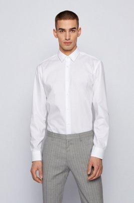 Regular-fit shirt in anti-wrinkle dobby cotton, White