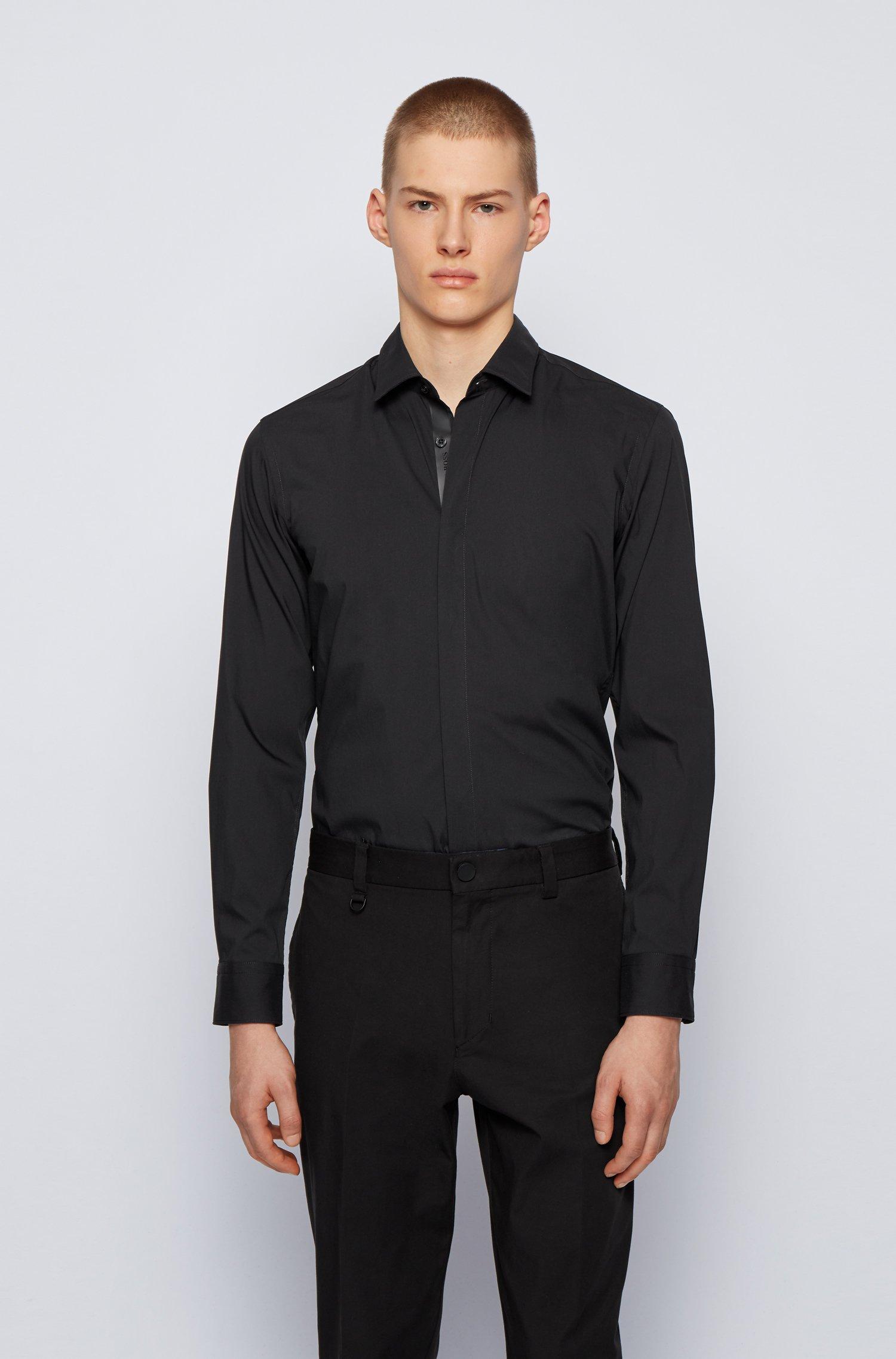 Camicia slim fit in popeline di misto cotone, Nero