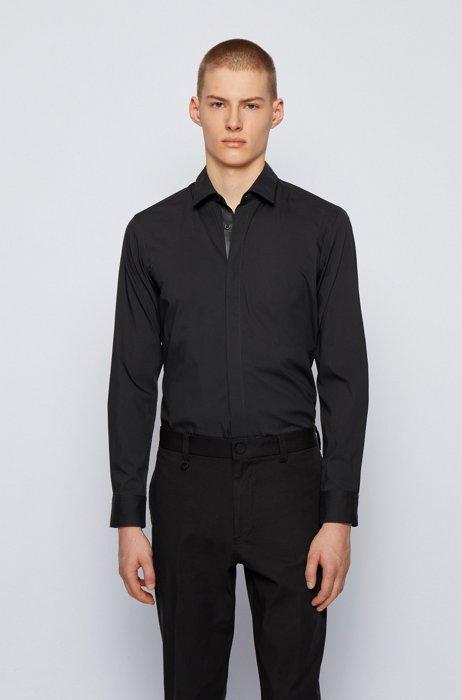 Slim-fit shirt in cotton-blend poplin, Black