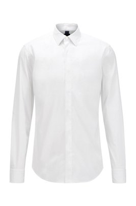 Slim-fit shirt in cotton-blend poplin, White
