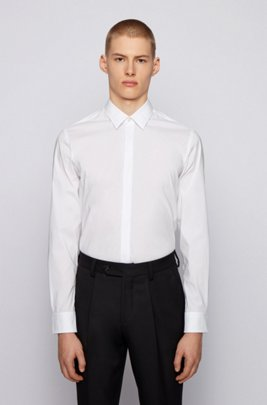 Slim-fit shirt in cotton-blend poplin, White