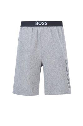 Pyjama-Shorts aus elastischem Baumwoll-Jersey mit Logo-Print, Grau