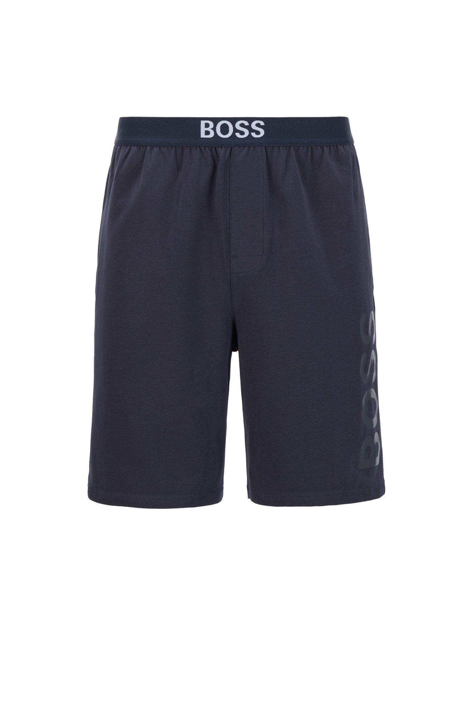 Pyjama-Shorts aus elastischem Baumwoll-Jersey mit Logo-Print, Dunkelblau