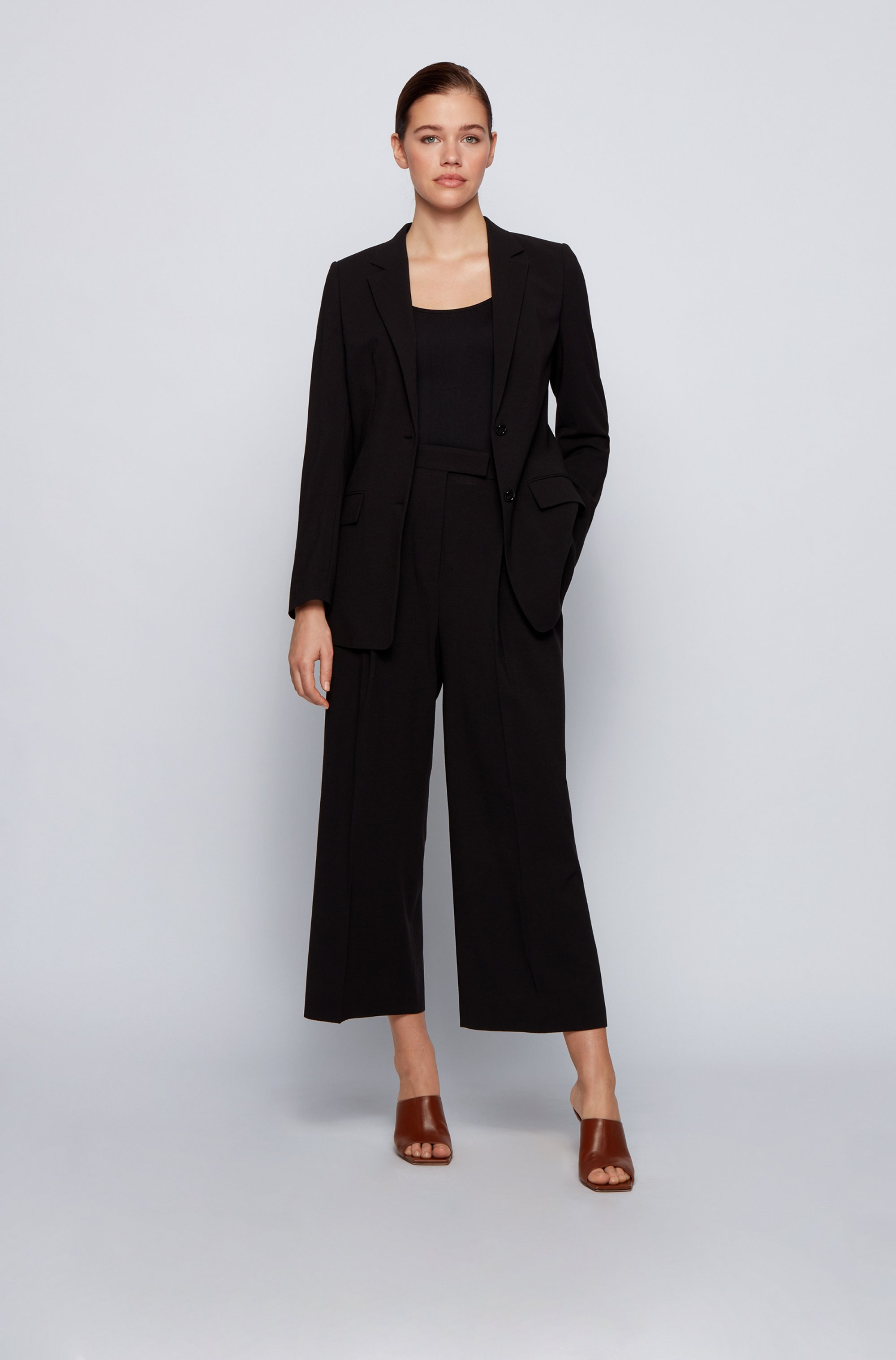 Wide-leg relaxed-fit trousers in a wool blend