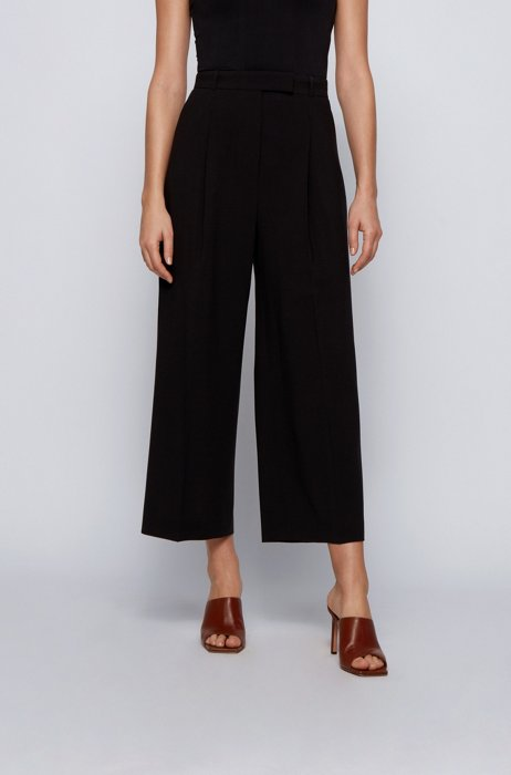 Wide-leg relaxed-fit trousers in a wool blend, Black