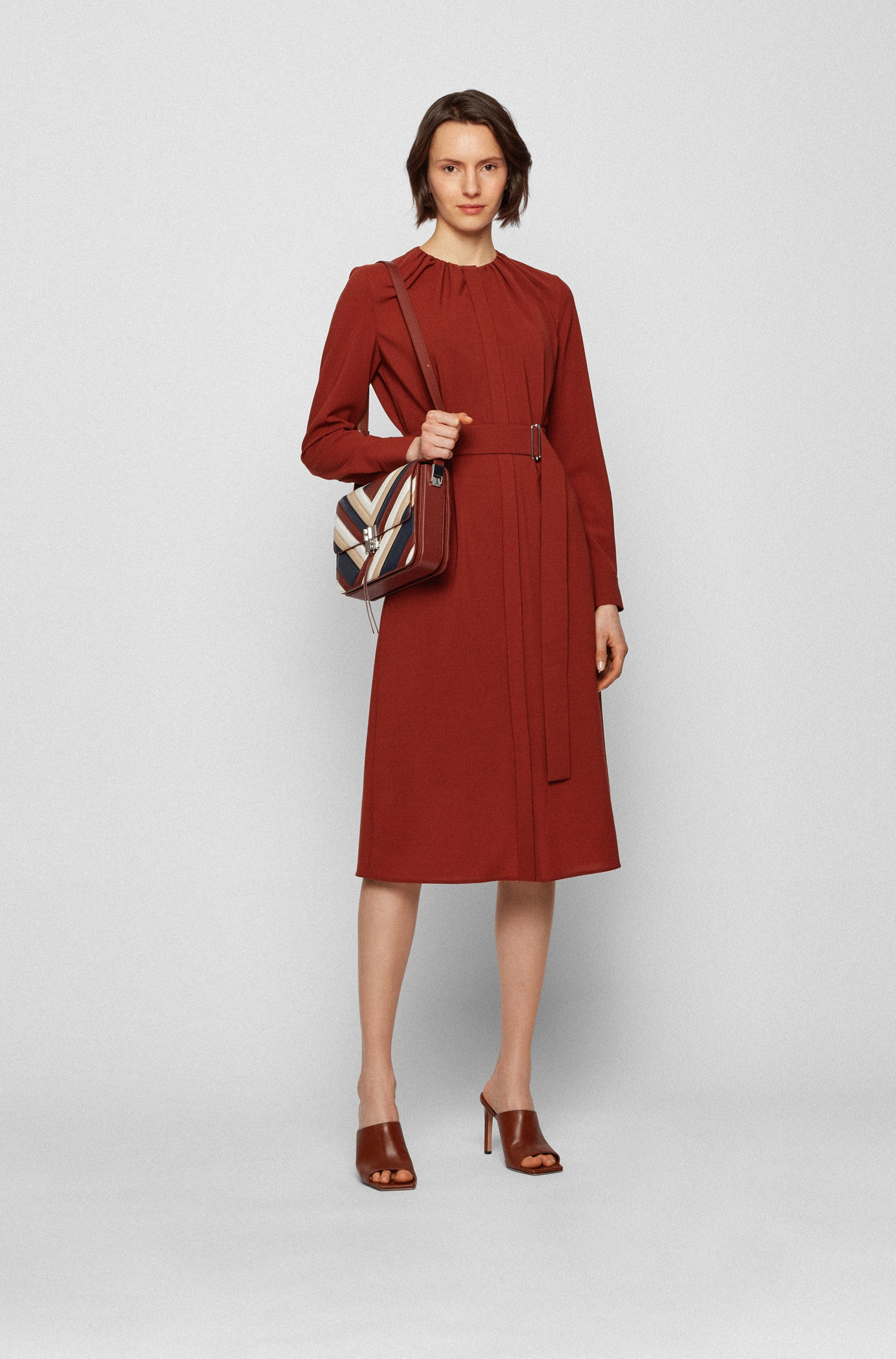 Long-sleeved wool-blend dress with gathered neckline