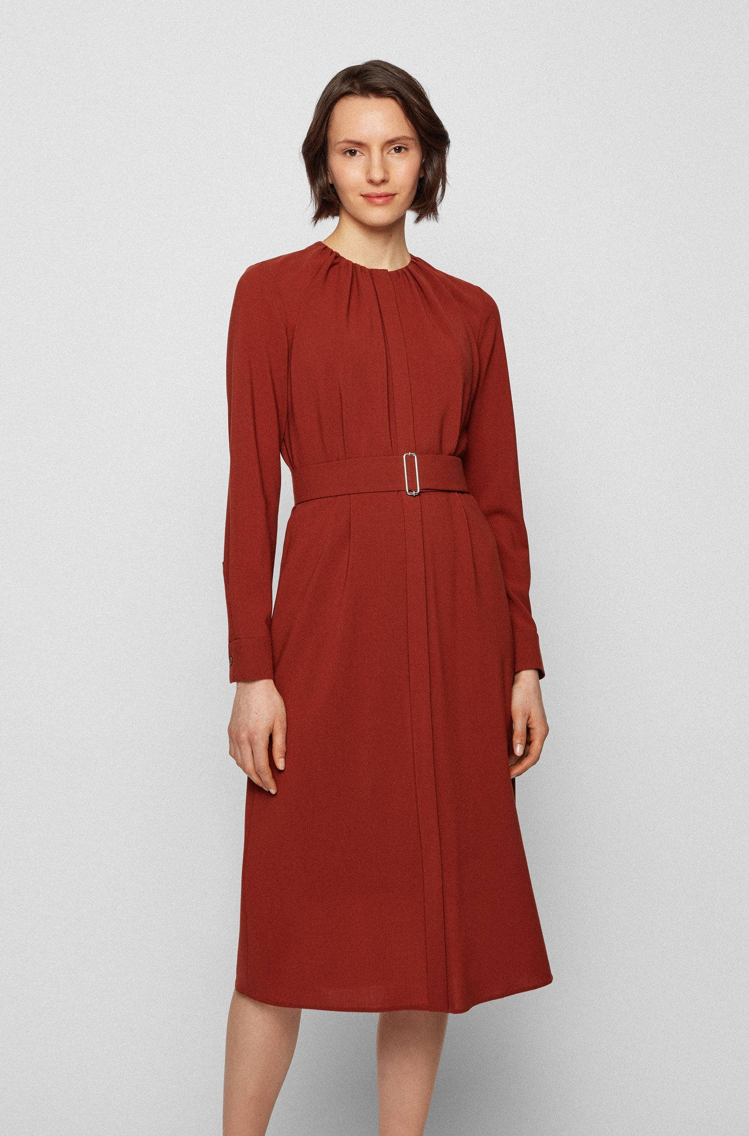 Long-sleeved wool-blend dress with gathered neckline, Brown