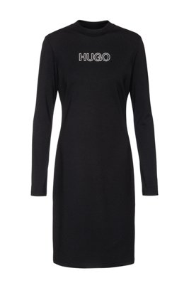 Long-sleeved dress in stretch jersey with 3D logo, Black