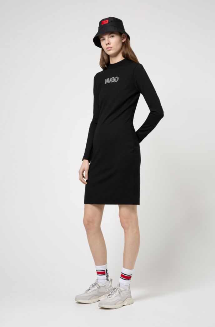 Long-sleeved dress in stretch jersey with 3D logo