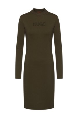 Long-sleeved dress in stretch jersey with 3D logo, Khaki