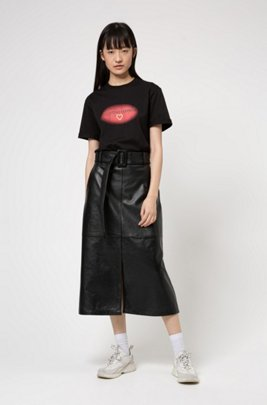 Relaxed-fit T-shirt in organic cotton with Valentine's Day print, Black