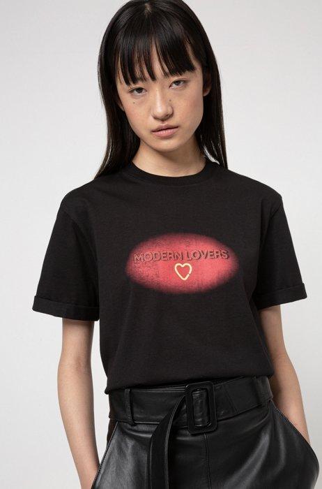 T-shirt Relaxed Fit en coton biologique à imprimé Saint-Valentin, Noir