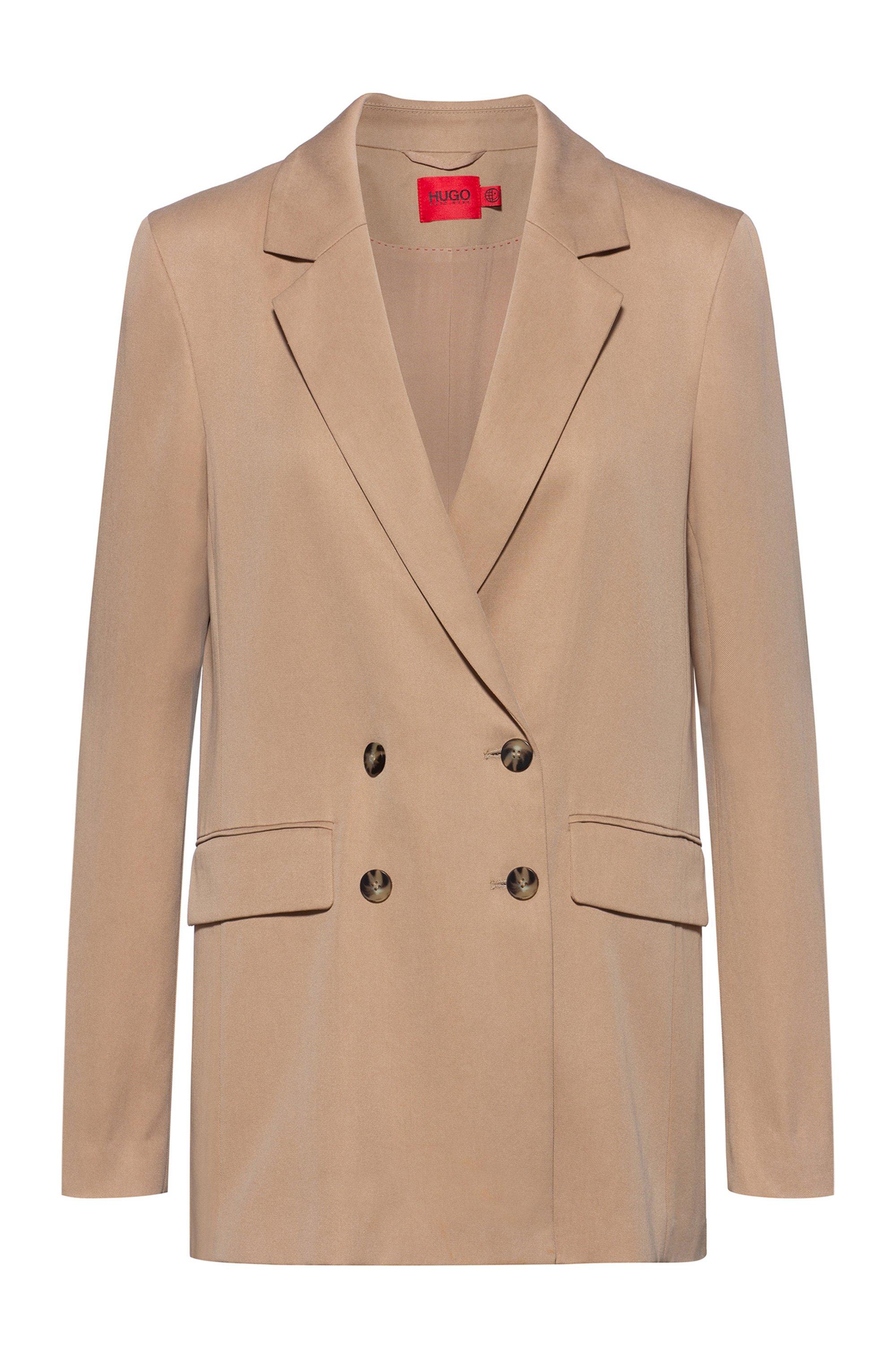 Relaxed-fit double-breasted blazer van TENCEL™ Lyocell, Lichtbeige