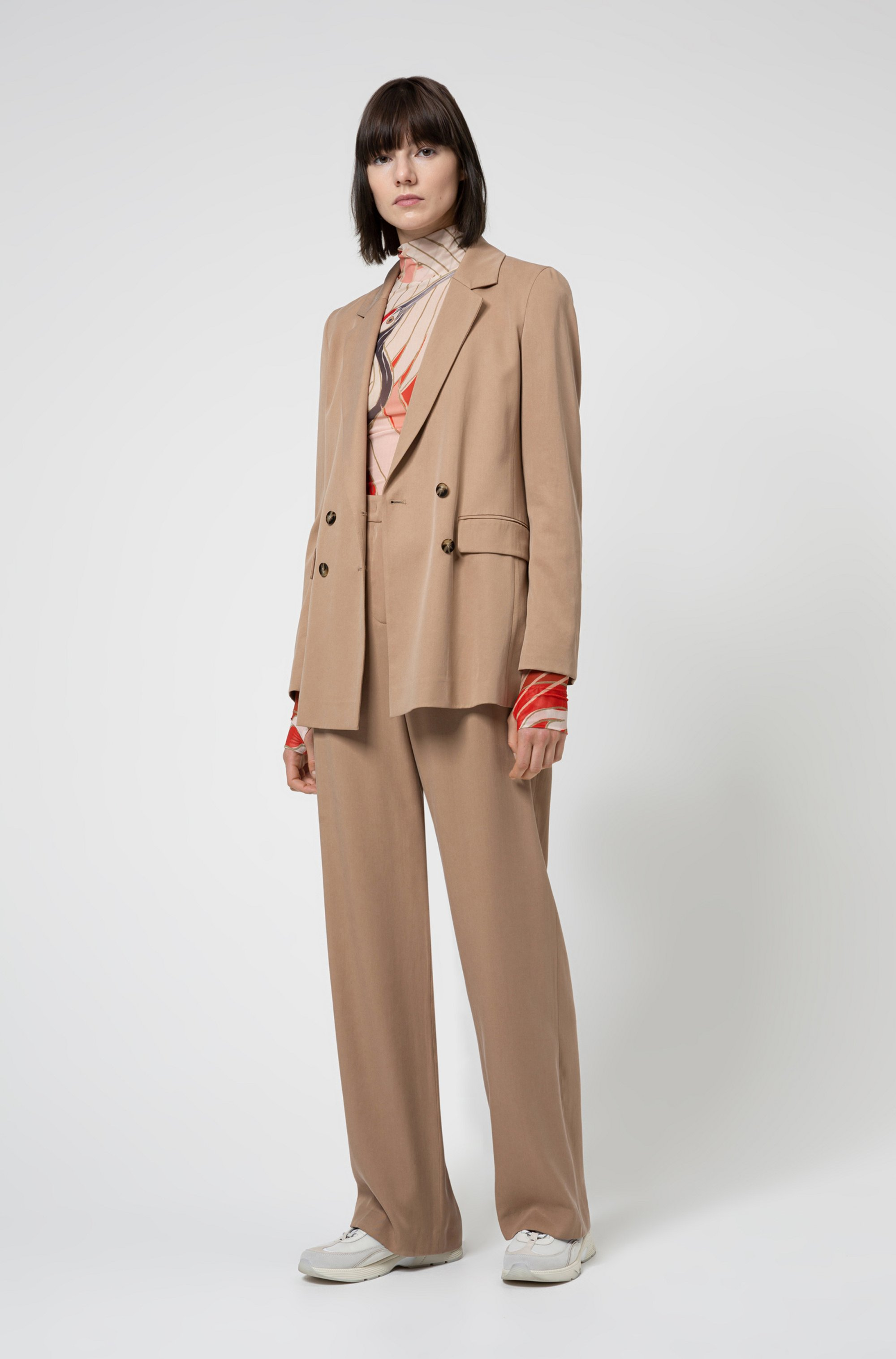 Relaxed-fit double-breasted jacket in TENCEL™ Lyocell