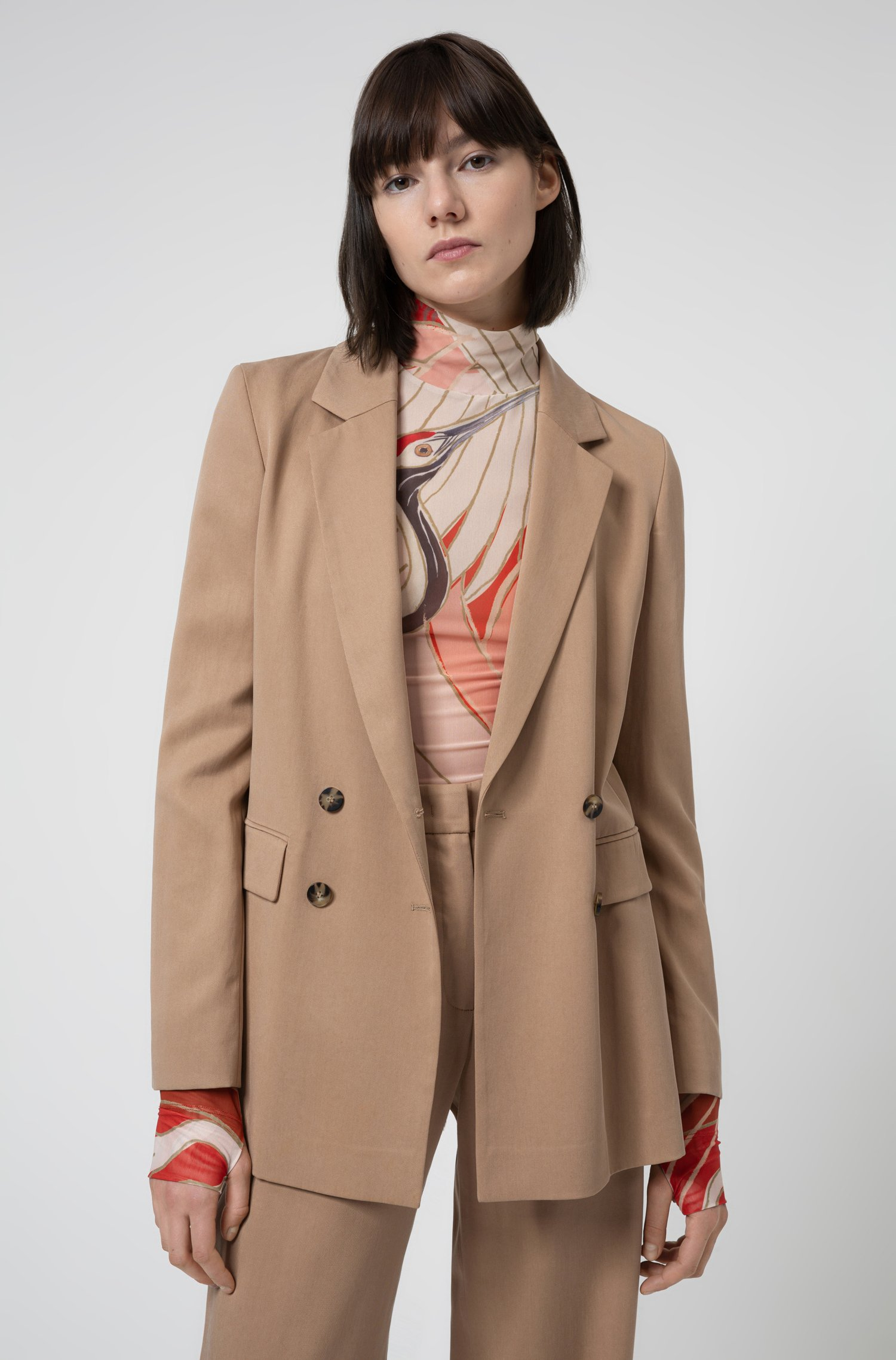 Relaxed-fit double-breasted jacket in TENCEL™ Lyocell, Light Beige