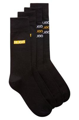 Set van twee paar sokken in standaardlengte met logoprints in bandafdruk-stijl, Zwart