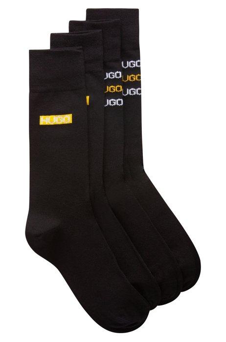 Two-pack of regular-length socks with tyre-print logos, Black