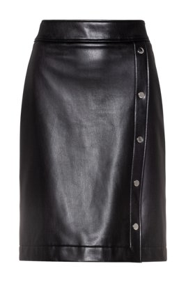 Button-front mini skirt in faux leather, Black