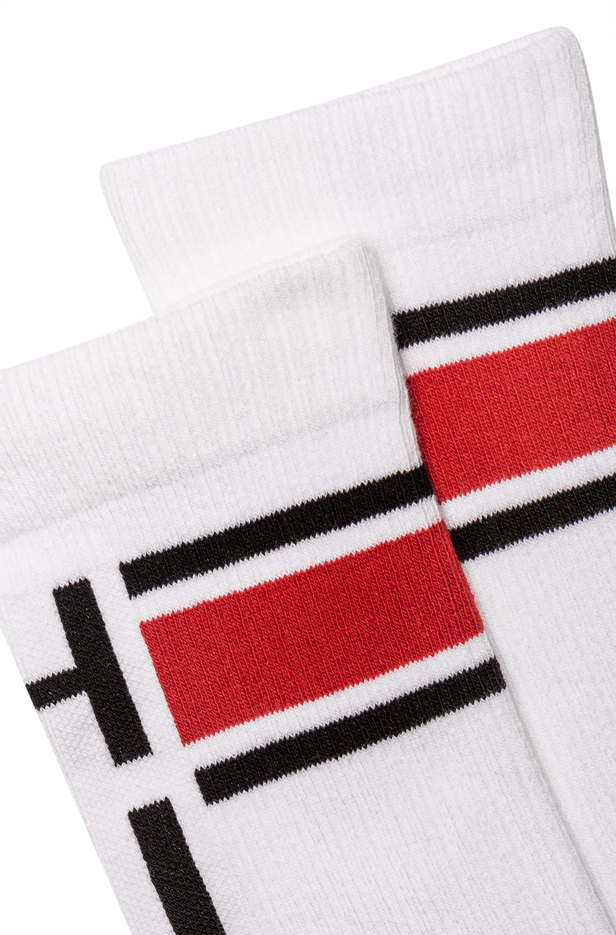 Skater-style socks with stripes and logo