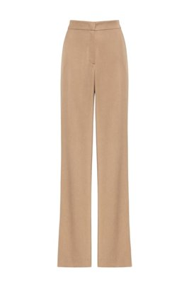 Relaxed-fit flared trousers in TENCEL™ Lyocell, Light Beige
