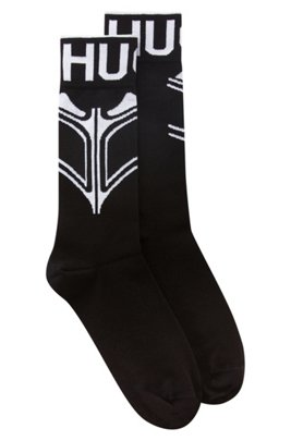 Regular-length socks with tattoo-style motif, Black