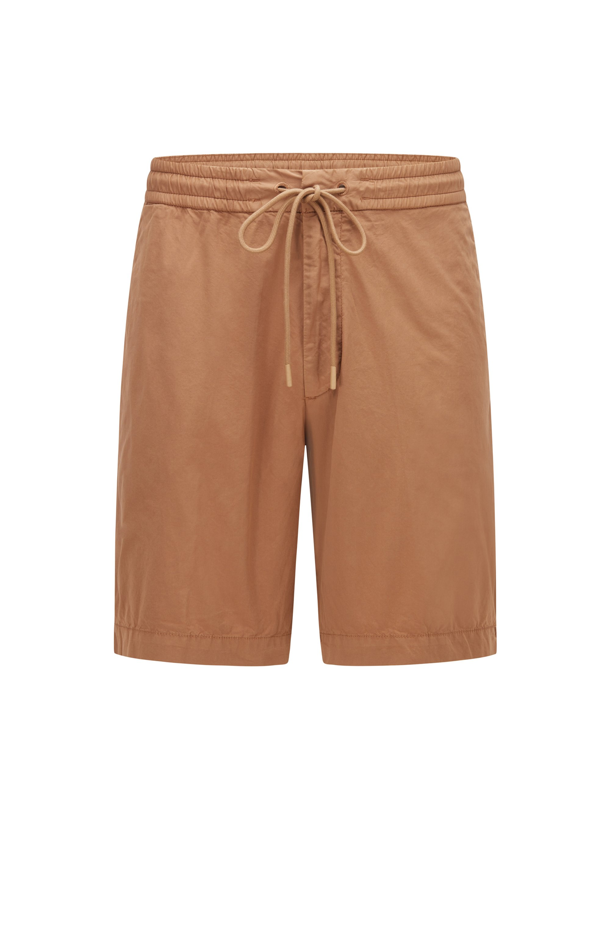 Relaxed-fit shorts in stretch-cotton poplin, Beige