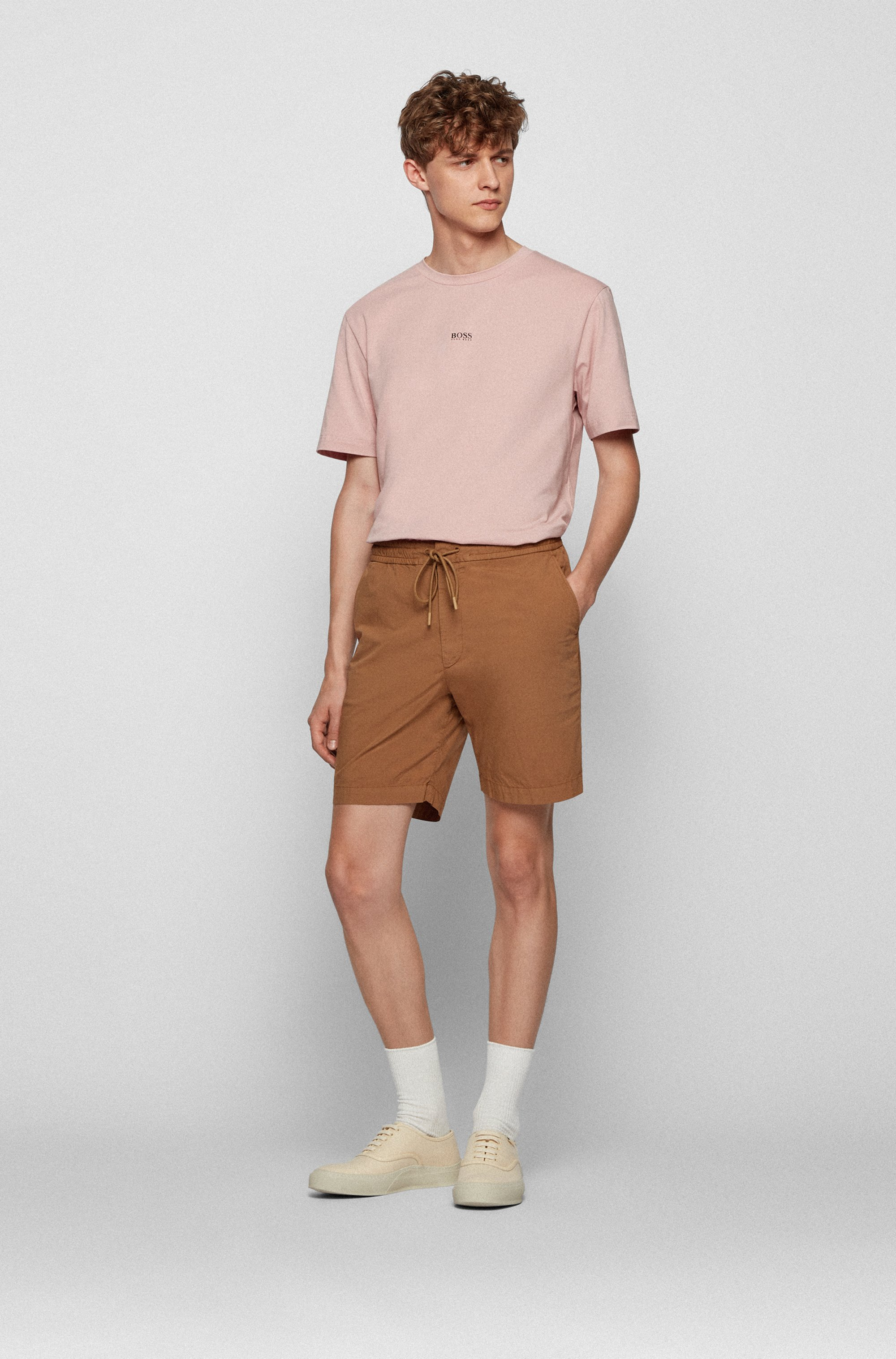 Relaxed-fit shorts in stretch-cotton poplin