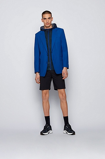 弹力棉府绸面料宽松版型短裤,  402_Dark Blue