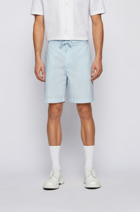 Relaxed-fit shorts in stretch-cotton poplin, Light Blue