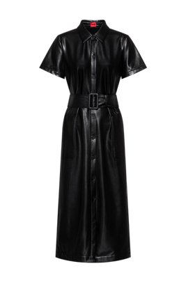 Faux-leather midi dress with belted waist, Black