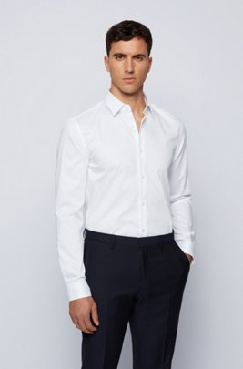 Micro-patterned slim-fit shirt with wrinkle-free finish, White