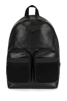 Backpack in smooth and perforated Italian leather, Black