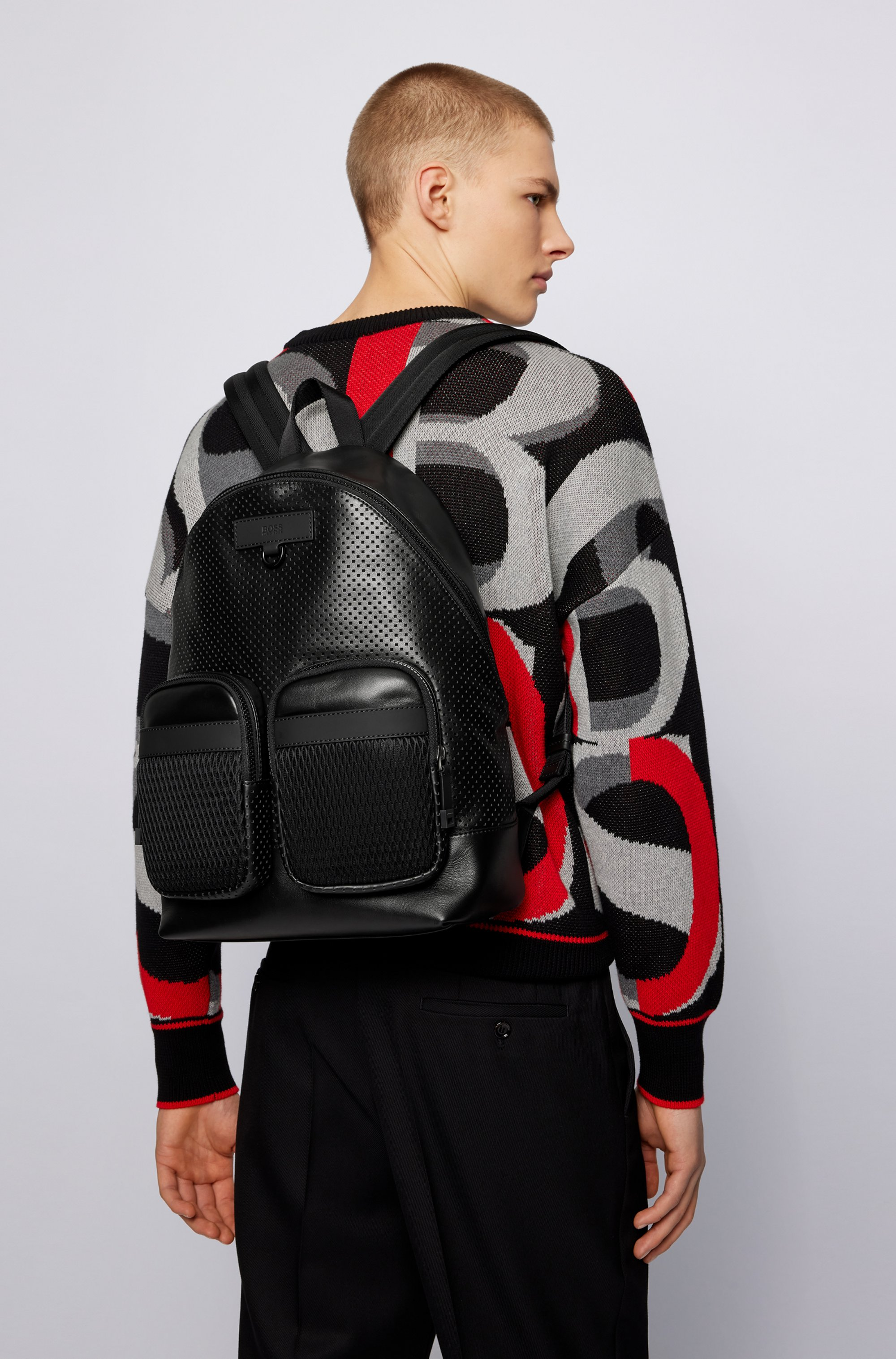 Backpack in smooth and perforated Italian leather