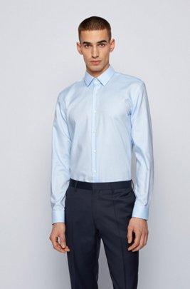 Slim-fit shirt in anti-wrinkle dobby cotton, Light Blue