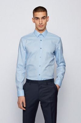 Slim-fit shirt in Oxford cotton with two-tone motif, Blue Patterned