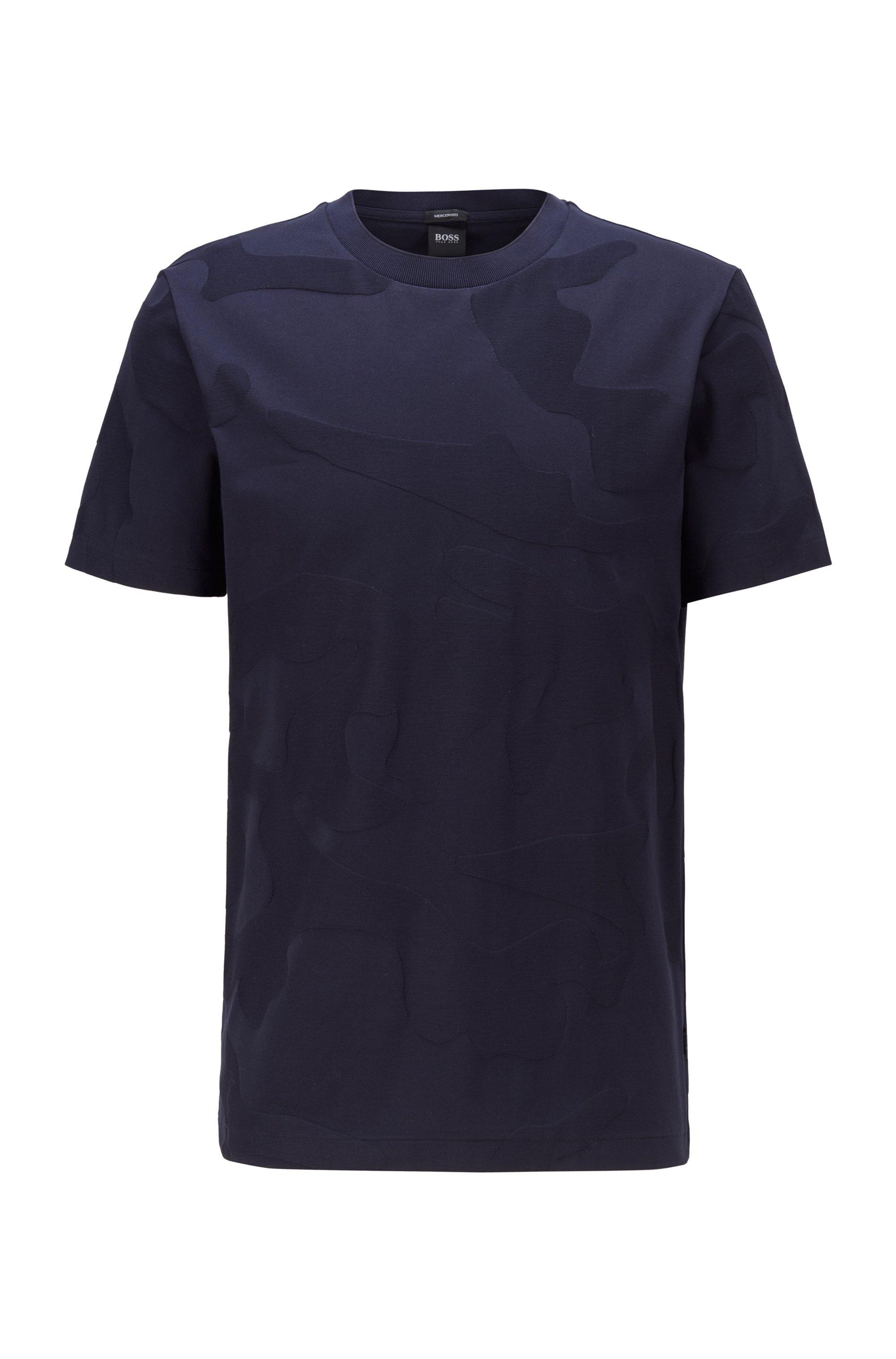 T-shirt in cotone mercerizzato con motivo camouflage jacquard, Blu scuro