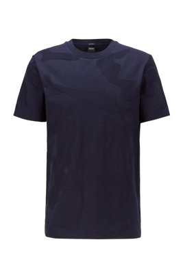 Mercerised-cotton T-shirt in camouflage-pattern jacquard, Dark Blue